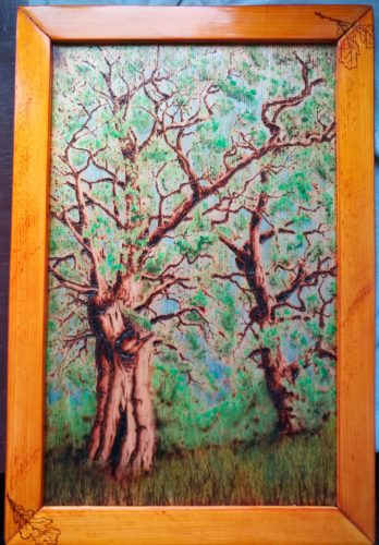 vypaľovanie do dreva dva duby